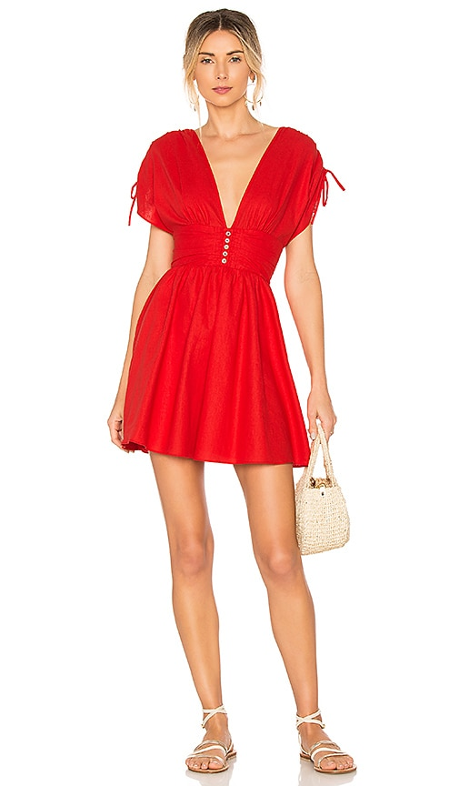 Free People Roll The Dice Mini Dress in Red