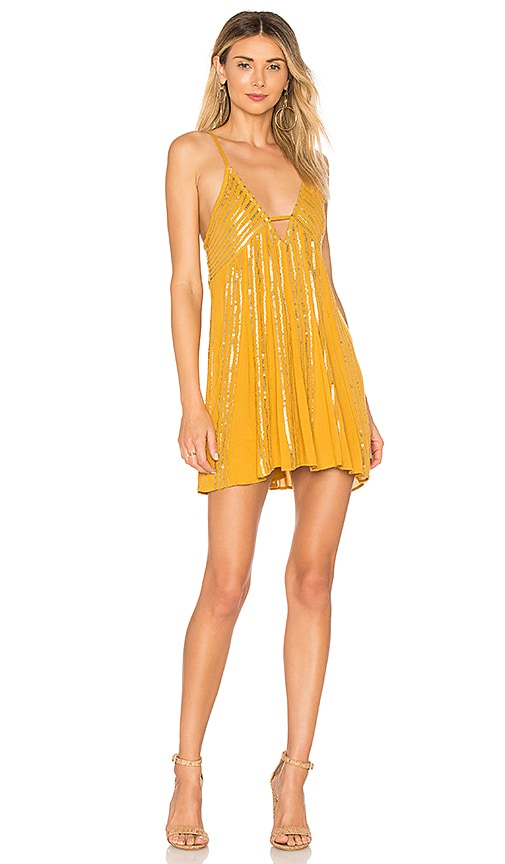 Free People Here She Is Embellished Dress in Mustard