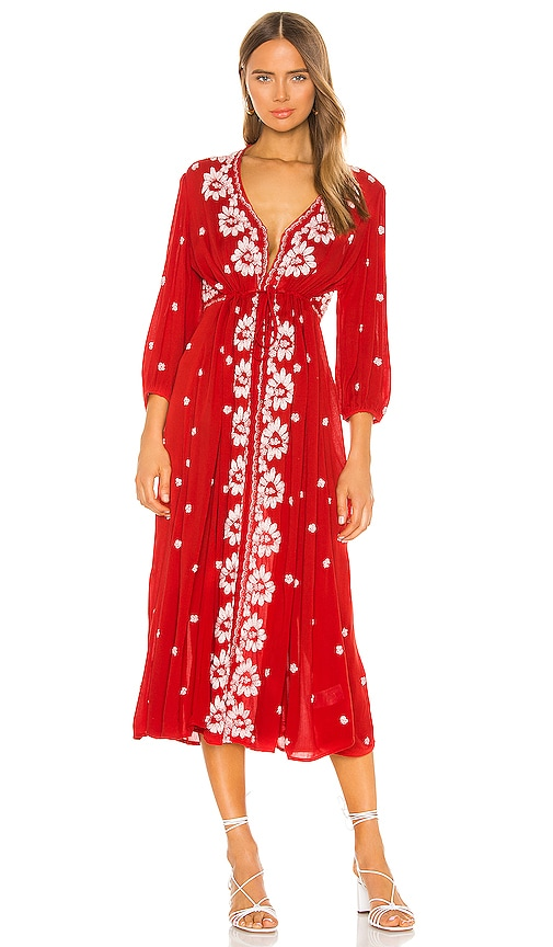 Free People Embroidered V Maxi Dress in Red Combo | REVOLVE
