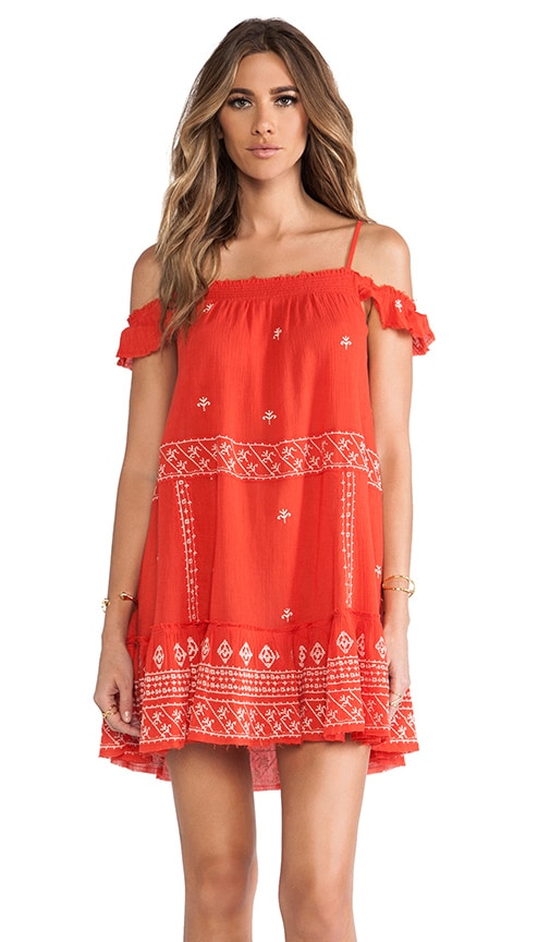 Embroidered Flounce Dress