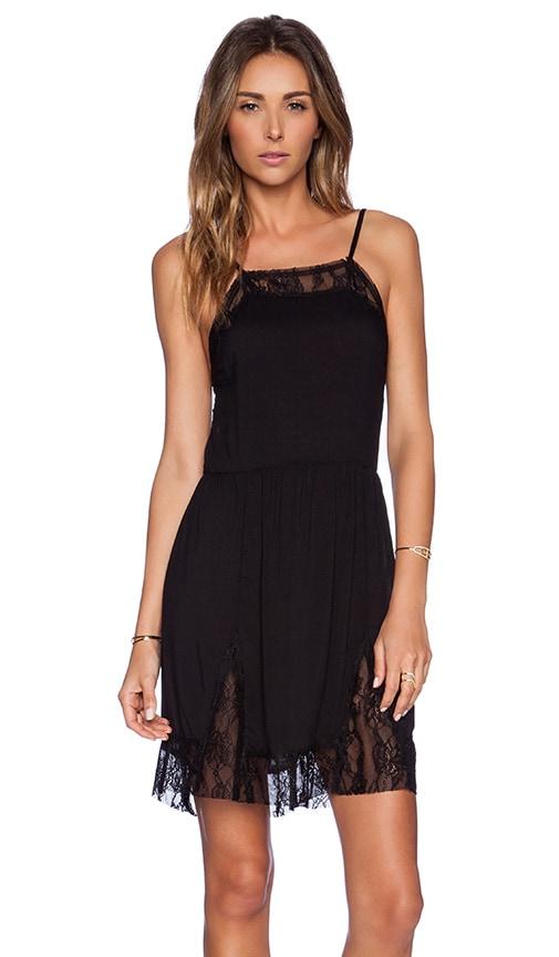 Free People Lace Insert Swing Slip Dress in Black