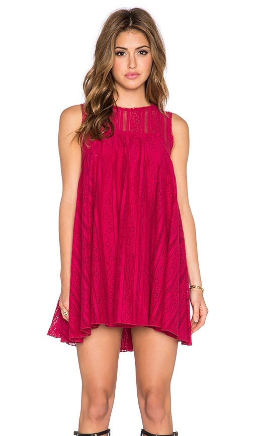 Free People Tu Es La Mini Dress in Ruby Red