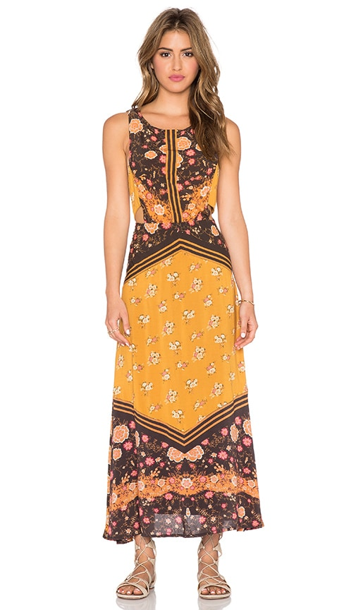 Free People Sunrise Oblivion Dress in Anitque Gold Combo