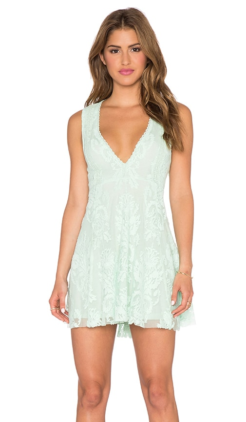 Free People Embroidered Mesh Reign Over Me Dress in Sea Green