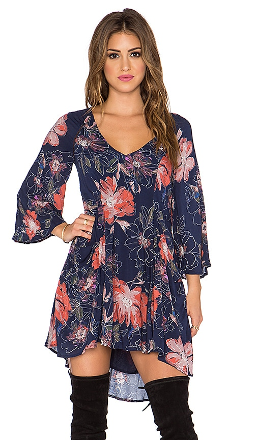 Free People Eyes on You Printed Dress in Navy Combo
