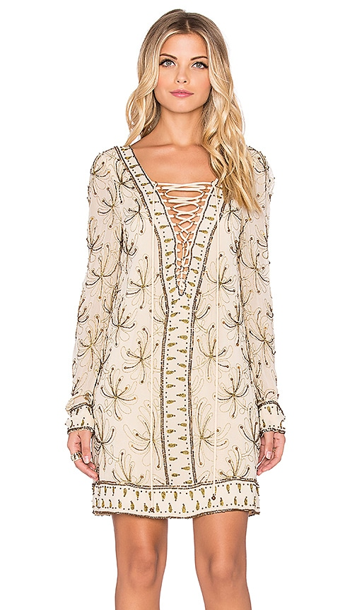Free People Sicily Beaded Shift Dress in Ivory
