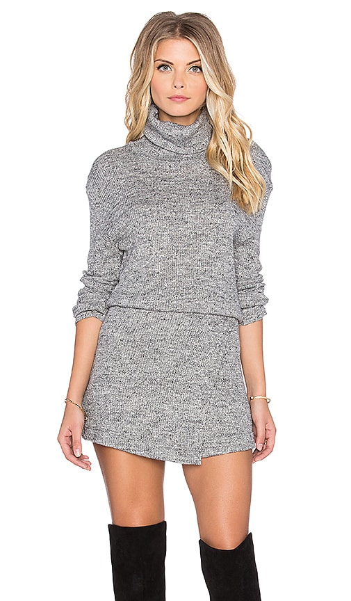 Free People By The Fire Mini Dress in Gray