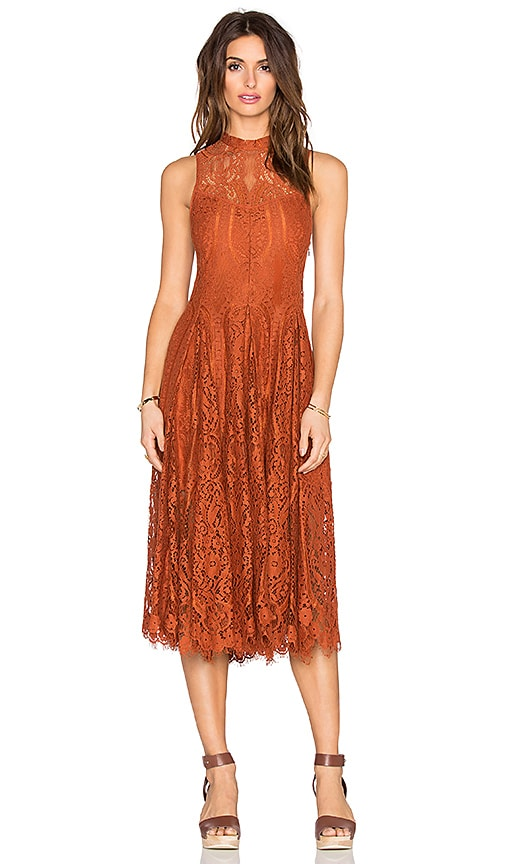 Lace Trapeze Midi Dress