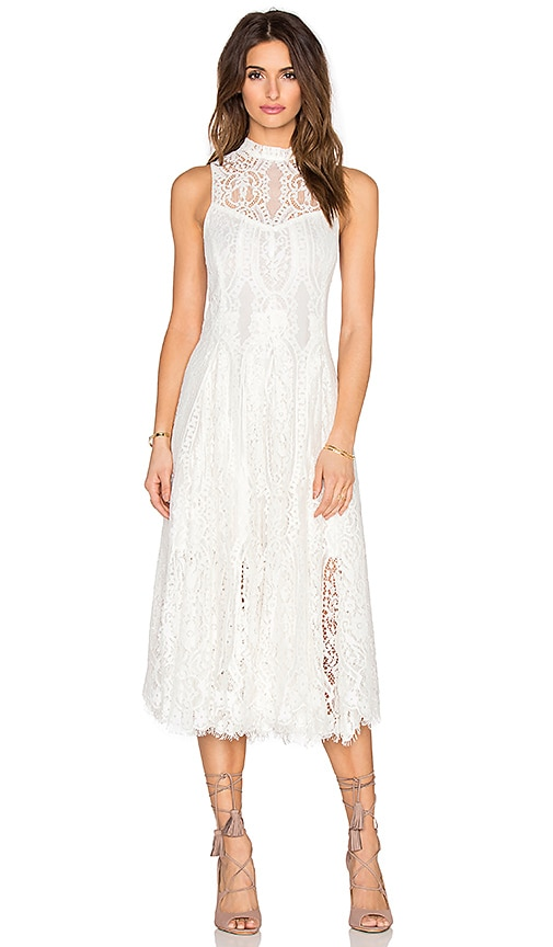 Free People Lace Trapeze Midi Dress in Ivory