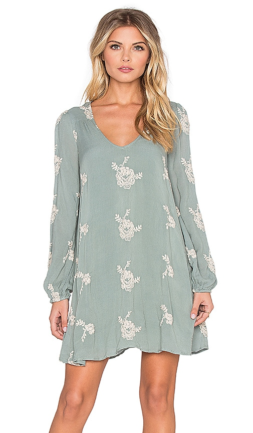 Free People Emma's Embroidered Dress in Misty Green