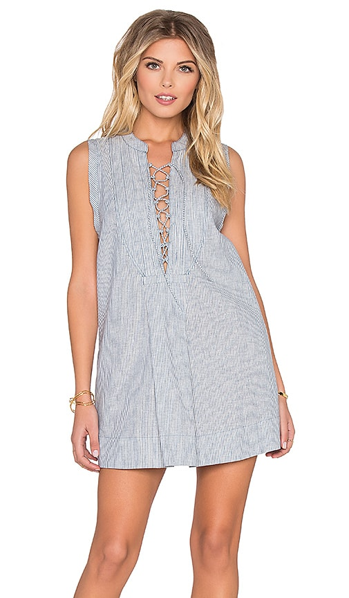 Free People Off Poplin Dress in Blue