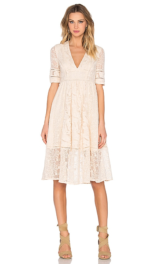 Free People Laurel Lace Dress in Almond