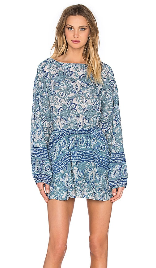Free People Sun Printed Dress in Washed Blue