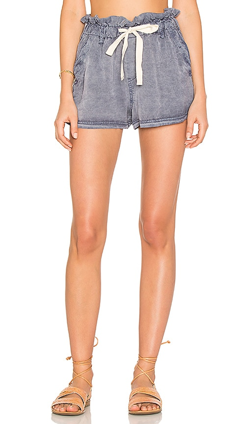 Free People High Waisted Wash Short in Blue