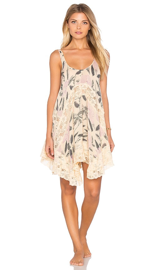 Free People She Swings Slip Dress in Beige
