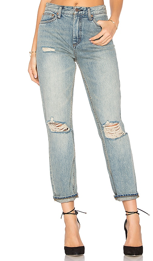Free People Destroyed Syxx Boyfriend Jeans in Denim Blue