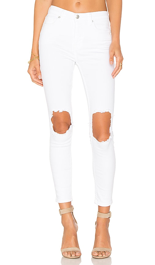 Free People Jean Busted Skinny in White