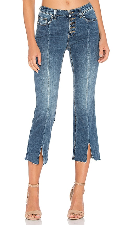 Free People Cropped Button Front Jean in Blue