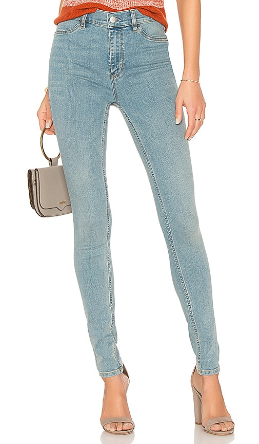 Free People High Rise Long And Lean Jean in Light Denim