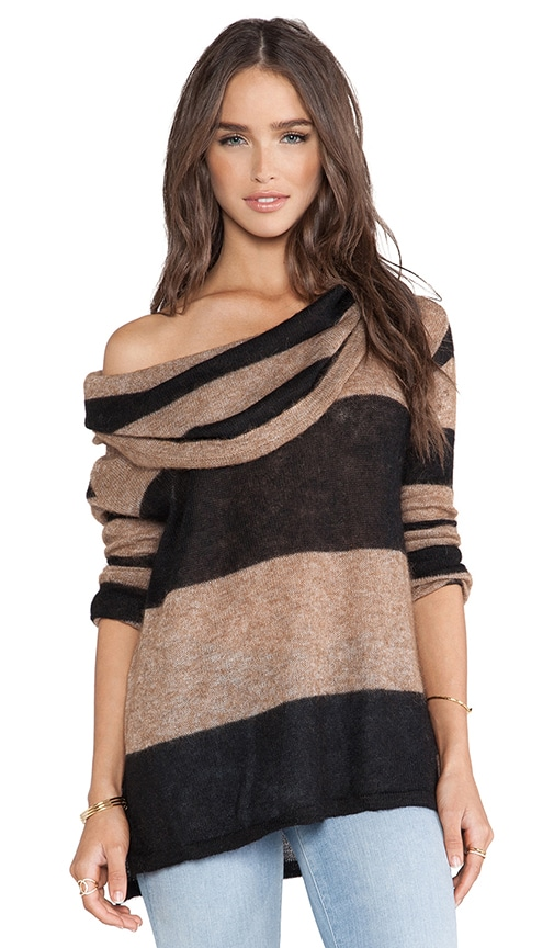 Lulu Rugby Stripe Cowl Sweater