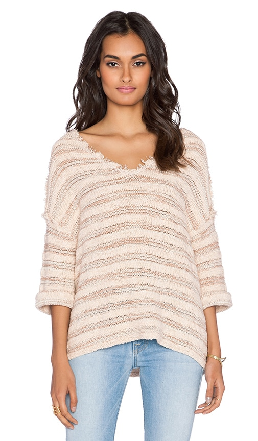Free People Spells Trouble Stripe Pullover in Ballerina & Natural Combo