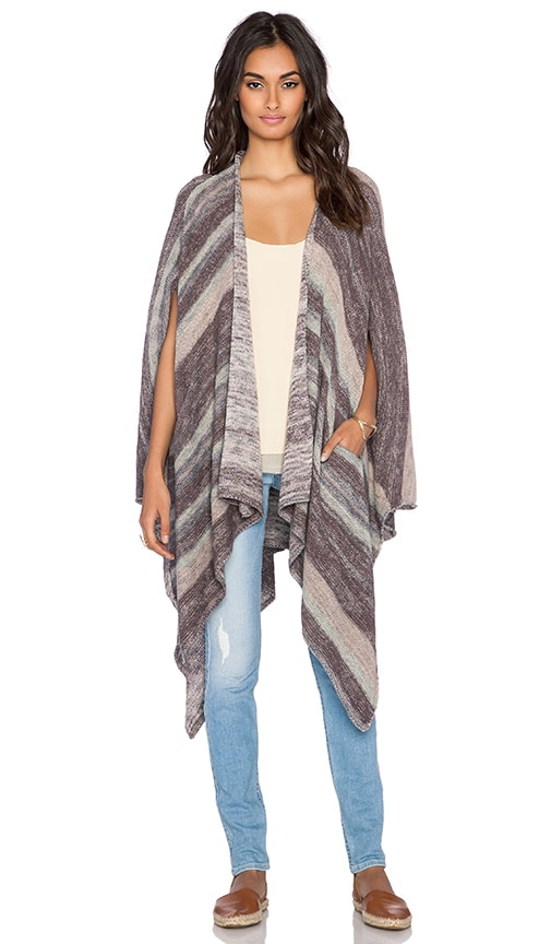 Free People The Big Trail Poncho Cardigan in Neutral Combo