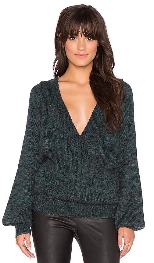 Free People Karina Wrap Sweater in Black Emerald