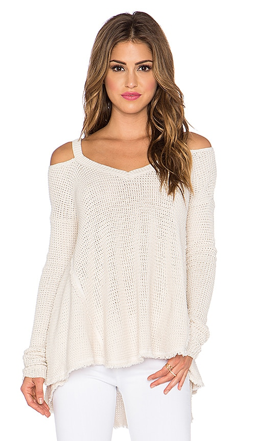 Free People Moonshine V Neck Sweater in Cream