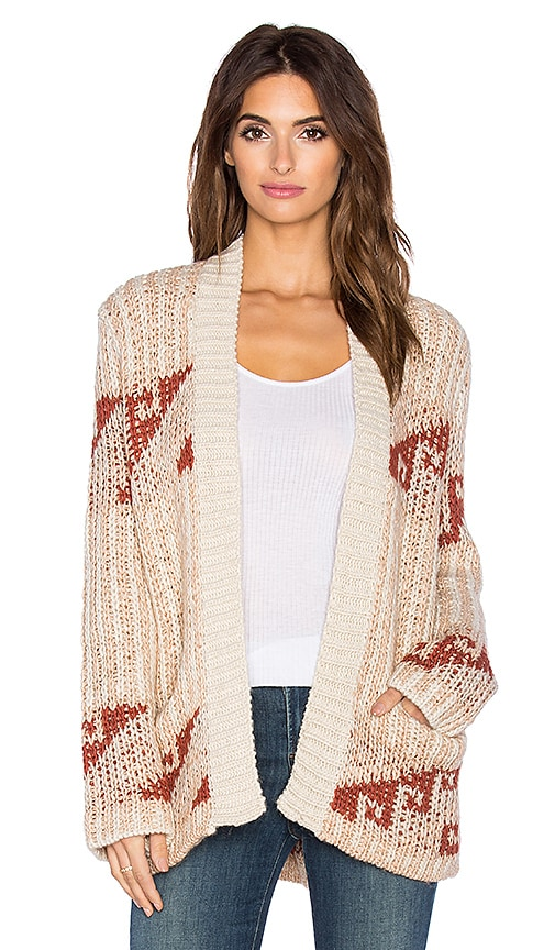 Free People Time And Again Pattern Cardigan in Beige