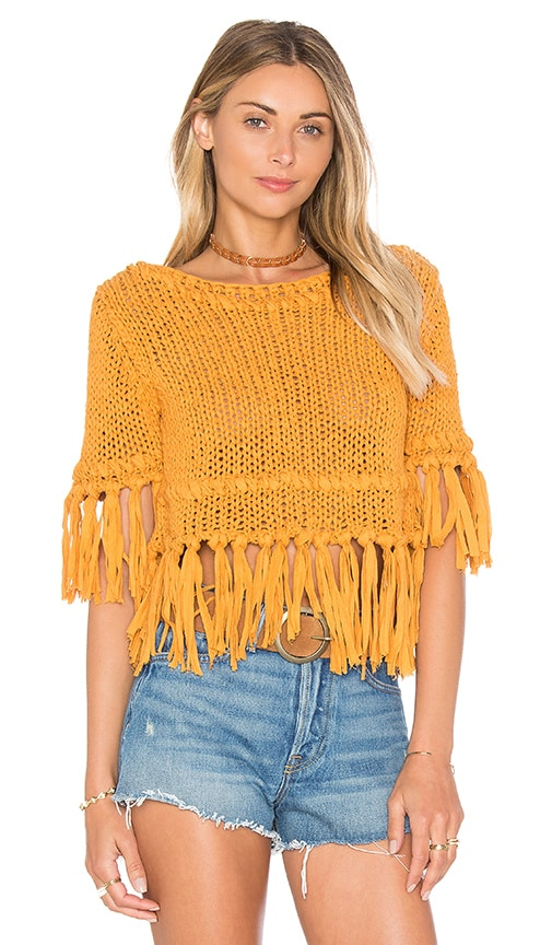 Free People On the Fringe Pullover in Yellow