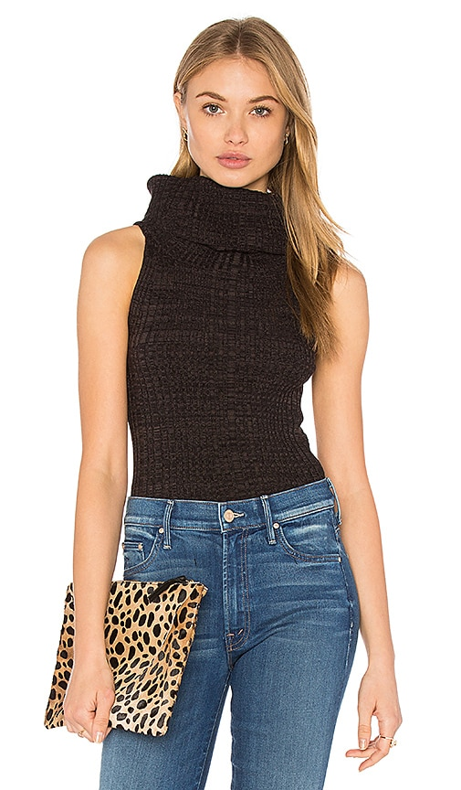 Free People Carly Cowl Sweater Top in Charcoal