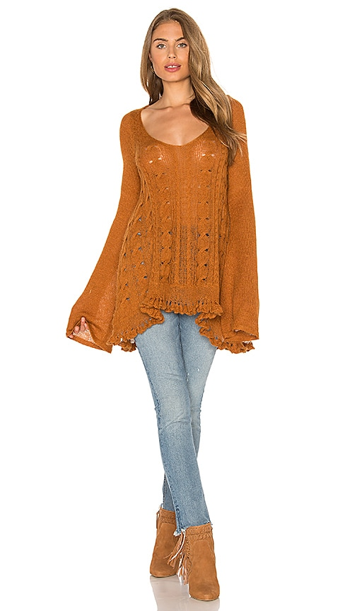 Free People Waterfall Sweater in Cognac