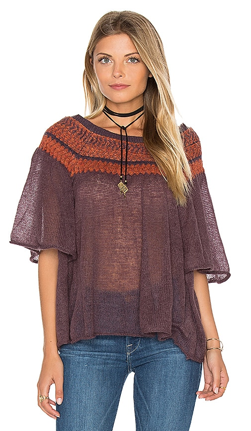 Free People Lock Lomand Flutter Sleeve Top in Wine