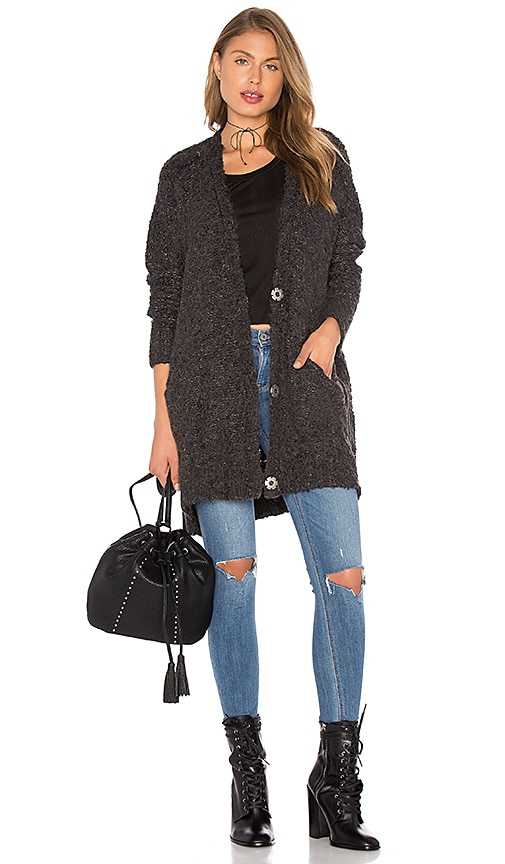 Free People Boucle Cardi Sweater in Charcoal