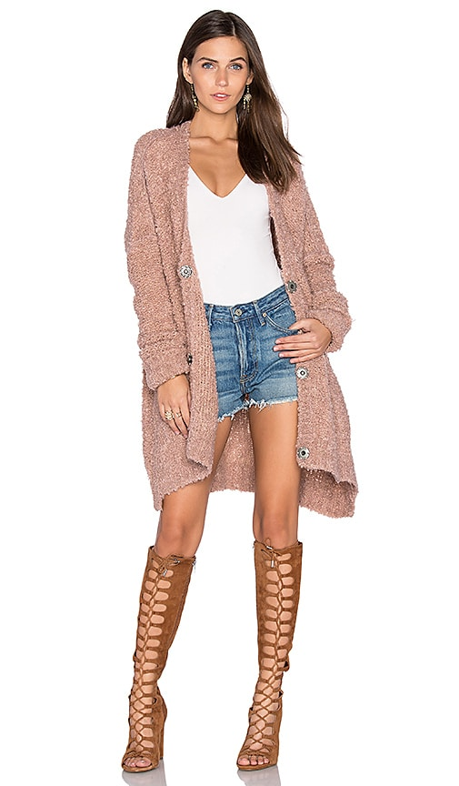 Free People Boucle Cardi Sweater in Rose