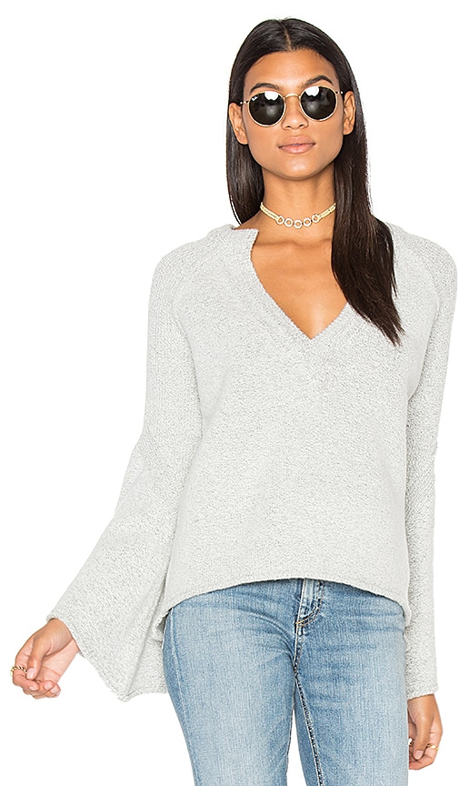 Free People Lovely Lines Pullover in Light Gray