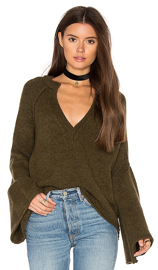 Free People Lovely Lines Pullover in Green