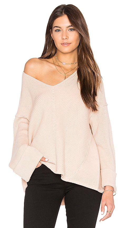Free People La Brea V Neck Sweater in Pink