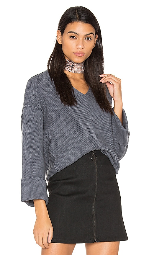 Free People La Brea V Neck Sweater in Blue