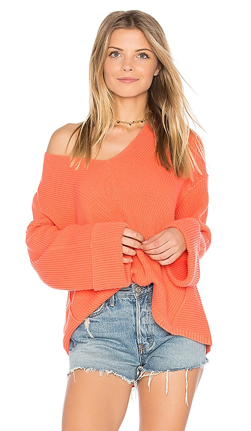 Free People La Brea V Neck Sweater in Red