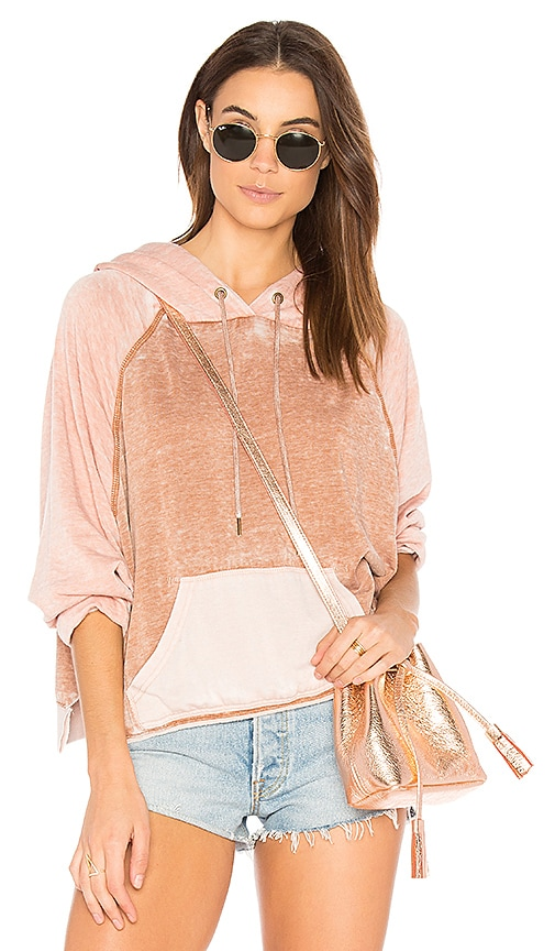 Free People Tri Color Hoodie in Pink
