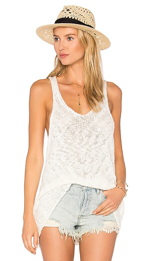 Free People Chevron Sweater Tank in White