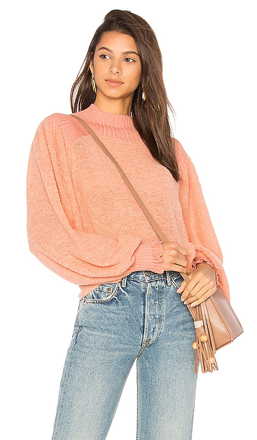 Free People Elderflower Pullover Sweater in Pink