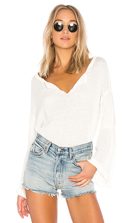 Free People Dahlia Thermal Pullover Sweater in Cream