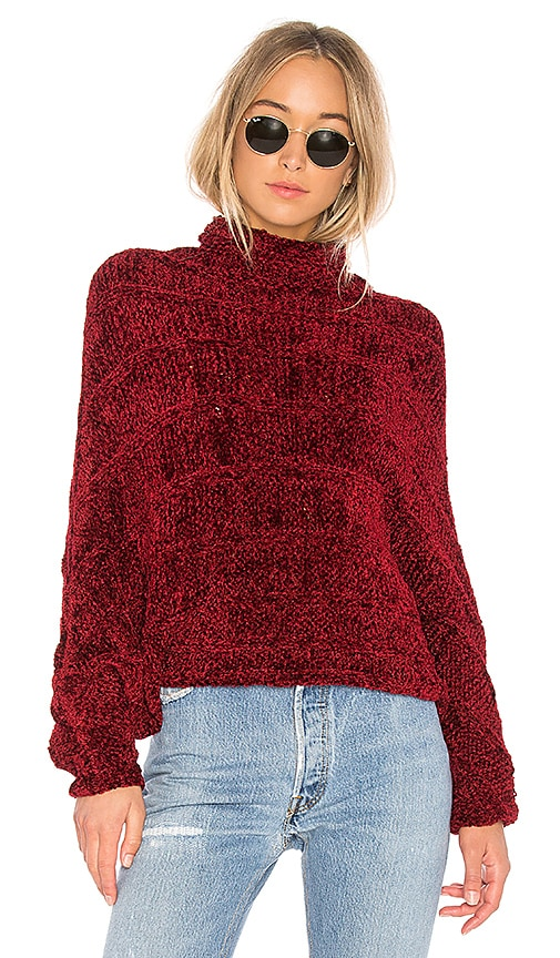 Free People Velvet Dreams Pullover Sweater in Red