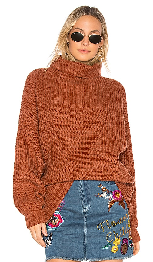 Free People Swim Too Deep Pullover Sweater in Burnt Orange