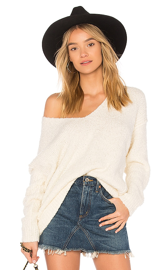 Free People Lofty V Neck Pullover Sweater In Ivory Revolve