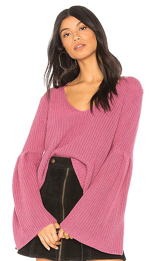 Free People Damsel Pullover Sweater in Rose