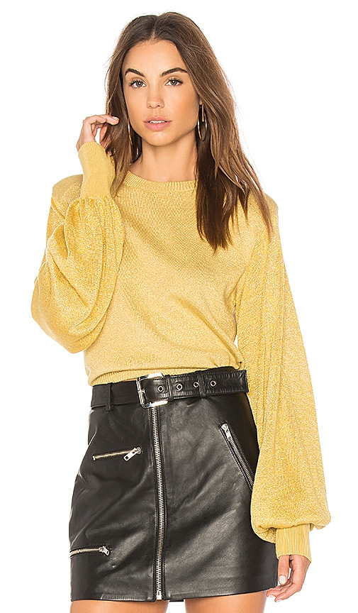 Free People Let It Shine Pullover Sweater in Yellow