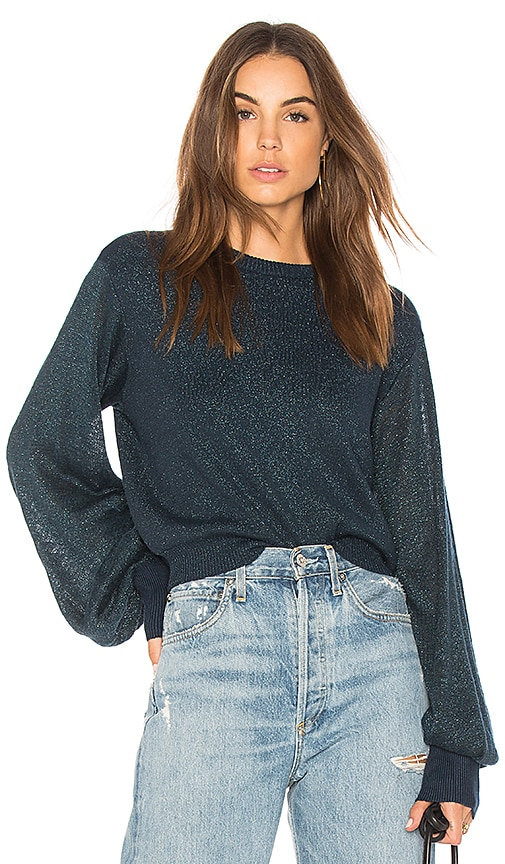 Free People Let It Shine Pullover Sweater in Blue